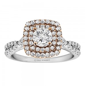 Round Cut Diamond Double Halo Infinity Engagement Ring