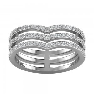 Triple Chevron Tiara Ring