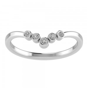 V Shaped Bezel 5 Stone Tiara Band