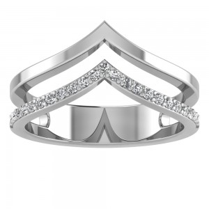 Chevron Twin Half Gold Half Diamond Ring