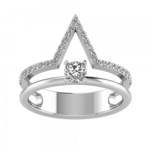 V Shaped Band and Solitaire Diamond Set