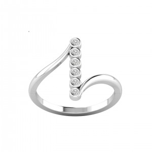 Vertical Six Stone Bezel Diamond Ring