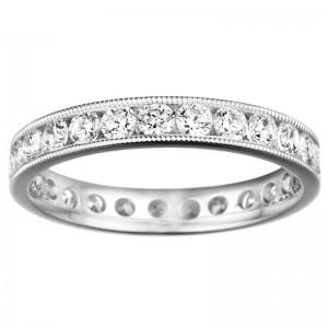 3/4 ct (approx) Round diamond Eternity wedding band / milgrain