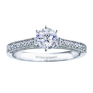 Rm1118-14k White Gold Vintage Engagement Ring