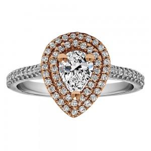 Pear Shape Halo Diamond Vintage Engagement Ring