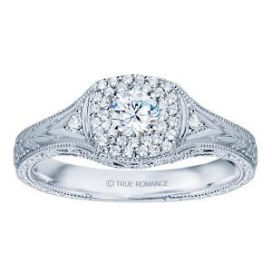 Rm1435-14k White Gold Vintage Engagement Ring