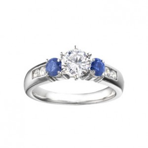 Diamond and Saphire Engagement Ring