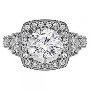Rm1360r -14k White Gold Round Cut Halo Diamond Vintage Engagement Ring