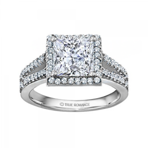 Rm1098p-14k White Gold Halo Engagement Ring