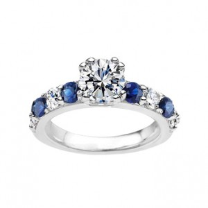 Diamond and Saphire Engagement Ring