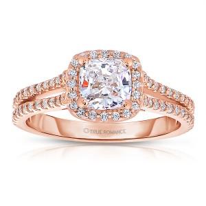 Rm1174cu-14k White Gold Cushion Cut Halo Diamond Split Shank Engagement Ring