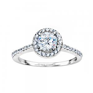 Rm1301r-14k White Gold Round Cut Halo Diamond Engagement Ring