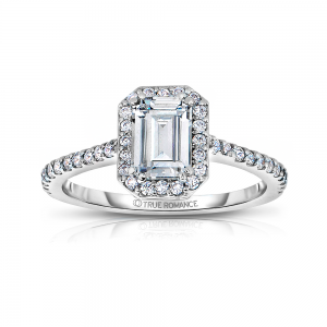 Rm1309e-14k White Gold Emerald Cut Halo Diamond Engagement Ring