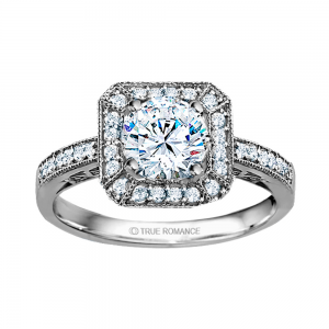 Rm1318r-14k White Gold Vintage Engagement Ring