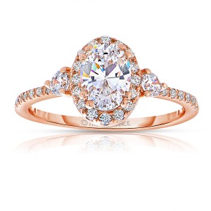 Rm1345vrs-14k Rose Gold Oval Cut Halo Diamond Engagement Ring