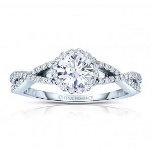 Rm1346 -14k White Gold Round Cut Halo Diamond Infinity Engagement Ring
