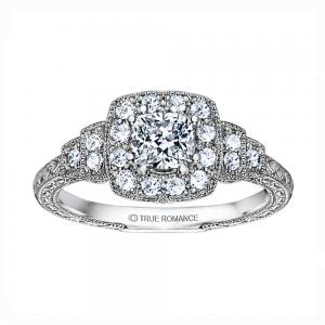 Rm1360cu -14k White Gold Cushion Cut Halo Diamond Vintage Engagement Ring