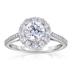 Rm1381-14k White Gold Round Cut Halo Diamond Engagement Ring