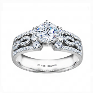 Rm1386-14k White Gold Infinity Engagement Ring