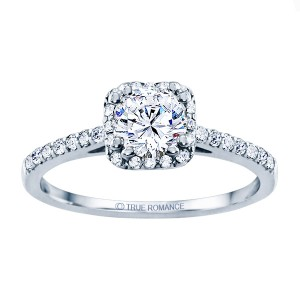 Rm1387-14k White Gold Round Cut Halo Diamond Engagement Ring