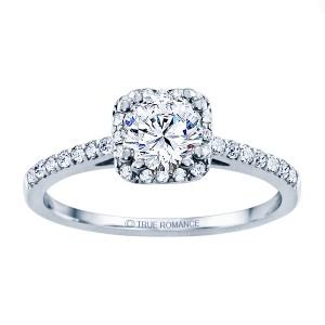 Rm1387-14k White Gold Round Cut Halo Diamond Engagement Ring