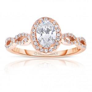 Rm1390vrs -14k Rose Gold Oval Cut Halo Diamond Infinity Engagement Ring
