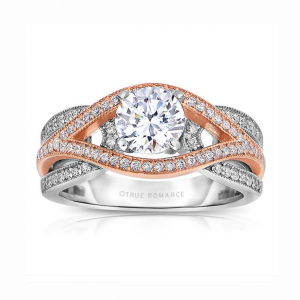 Rm1413tt -14k Rose Gold Round Cut Diamond Bi-pass Engagement Ring