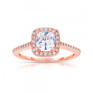 Rm1416cu-14k Rose Gold Cushion Cut Halo Diamond Engagement Ring