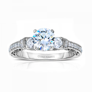 Rm1446 -14k White Gold Round Cut Diamond Vintage Engagement Ring