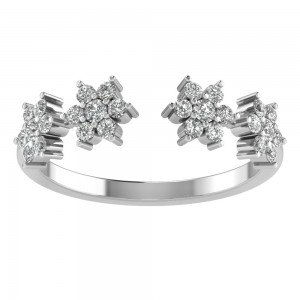 Diamond Flower Open Ring