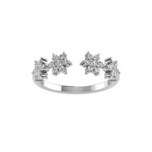Diamond Flower Open Ring